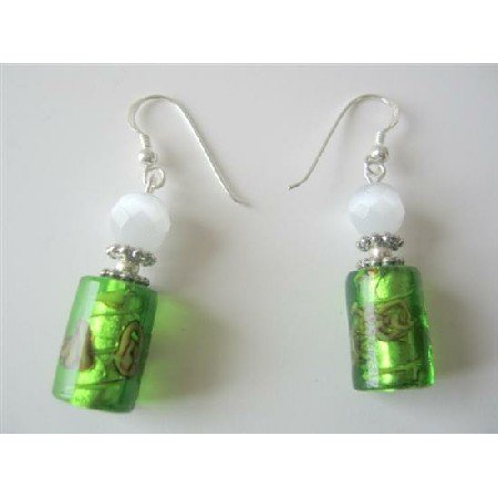 ERC295  White Cat Eye & Green Cylindrical Millefiori Earrings Designed Bead Earrings
