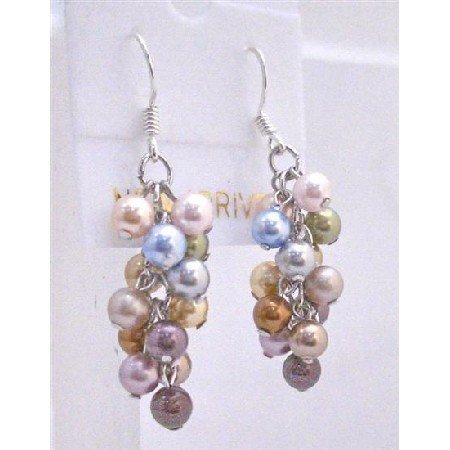 ERC447  Multicolored Swarovski Pearls Earrings Sterling Silver Pearls Earrings
