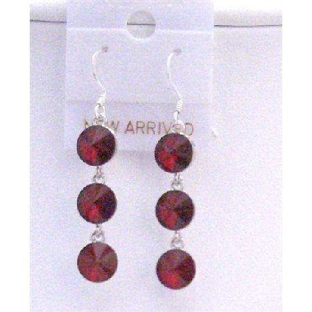 ERC431  Dark Siam Red Swarovski Crystals Round Beads 10mm Earrings w/ Genuine Sterling Silver