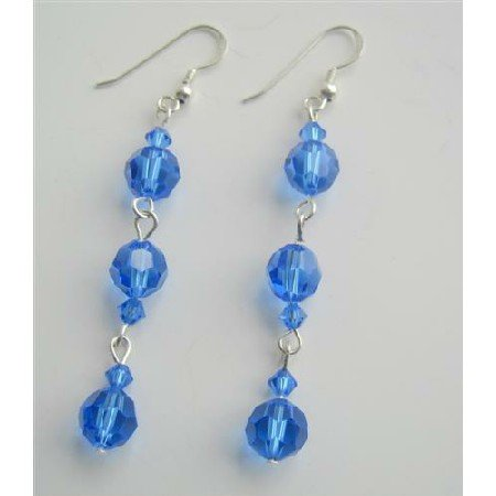 ERC350  Swarovski Blue Sapphire Dangling Earrings Sterling Silver Sapphire Crystals Earrings