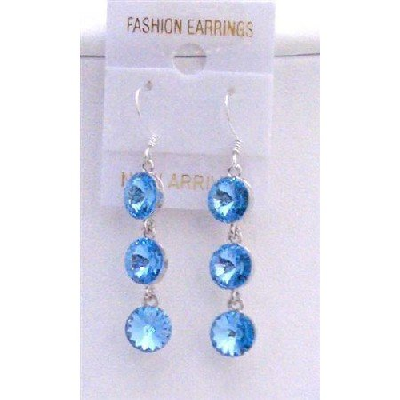 ERC425  Aquamarine Crystals Round Beads 10mm w/ Genuine Sterling Silver 92.5 Hook Earrings