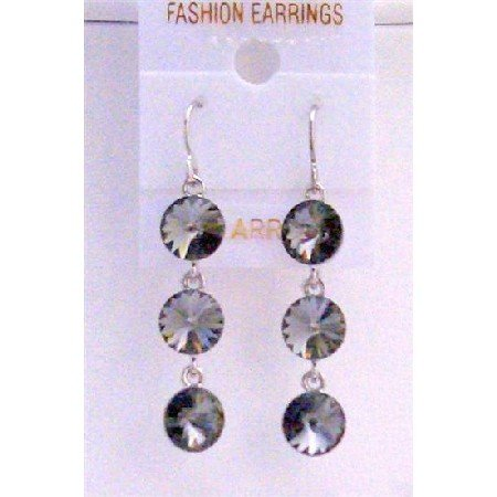 ERC433  Black Diamond Swarovski Crystals Round Beads 10mm Sterling Silver Earrings
