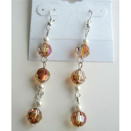 ERC353  Sexy Stunning Swarovski Copper Crystals Chandelier Dangling Earrings Copper Round