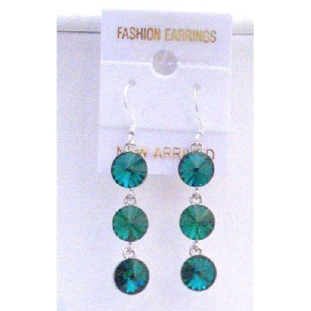 ERC427  Emerald Green Swarovski Round Crystals 10mm Dangle Earrings w/ Genuine Sterling Silver
