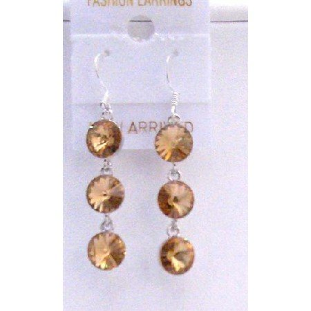ERC426  Colorado Crystals Dangle Earrings Round Crystals 10mm w/ Genuine Sterling Silver