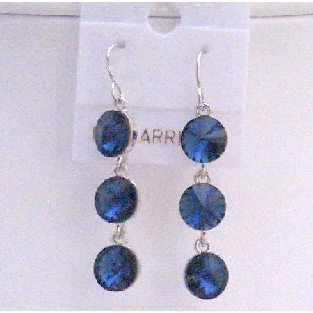 ERC423  Metallic Blue Sparkling Crystals Round Beads 10mm Earrings w/ Genuine Sterling Silver