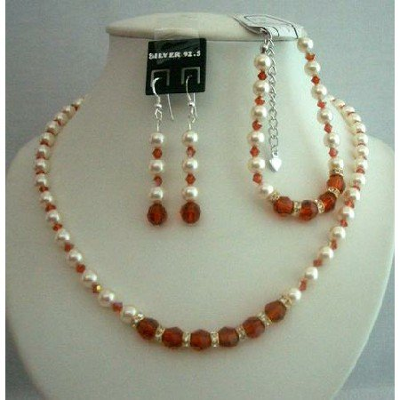 BRD294  Bridal Designer Bridal Jewelry Genuine Pearls Necklace Bracelet & Earrings