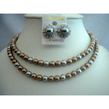 BRD297  Double Stranded Pearls Necklace For Moms Brides & Bridesmaid Necklace Set
