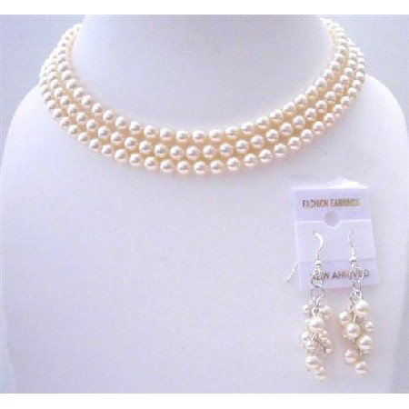 BRD568  Ivory Pearls 3 Stranded Necklace Set Beautifully Handcrafted3 Stranded Genuine Swavorski