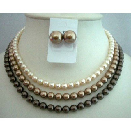 BRD333  Handcrafted Custom Wedding THREE STRANDS NECKLACE SET Genuine Swavorski Pearls
