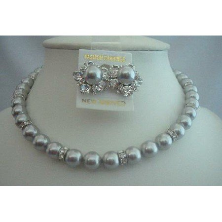 BRD295  Bridal Jewelry for Mother Of Bride Jewelry Genuine of Grey Pearls w/ Silver Rondells