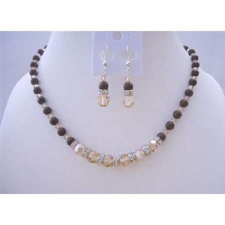 BRD424  Swarovski Maroon Pearls Jewelry Set w/ Swarovski Smoked Topaz 2X Crystals Necklace