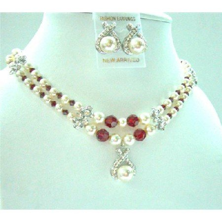 BRD718  Double Stranded Necklace Bridal Bridemaides Cream Pearsl/Siam Red Swarovski Crystals