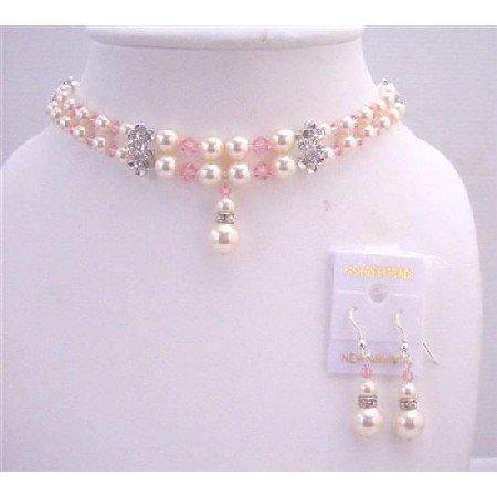 BRD550  Swarovski Rose Pink Crystals Ivory Swarovski Pearls Double Stranded Pearls & Crystals