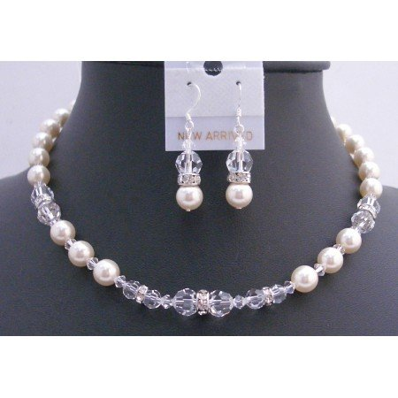 BRD744  Ivory Pearls Clear Crystals Bridal Jewelry Set w/ Silver Rondells Handmade Necklace