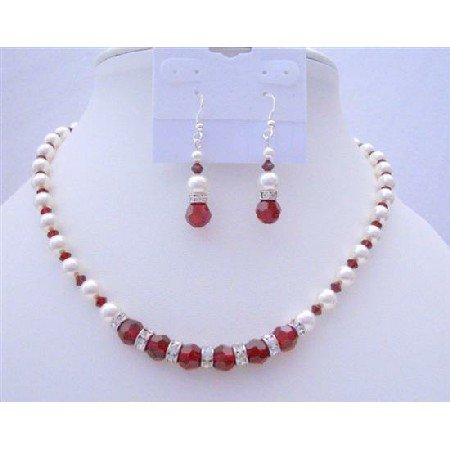 BRD389  Pearls & Crystals Handcrafted Jewelry Genuine Swarovski White Pearls & Siam Red