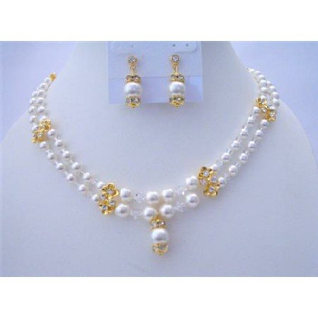 BRD394  Bridal Jewelry Double Stranded Genuine Swarovski White Pearls & Swarovski Crystals Necklace
