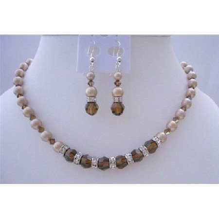 BRD425  Bridemadied Pearls And Crystals Necklace Set Bronze Pearls Smoked Topaz Crystals