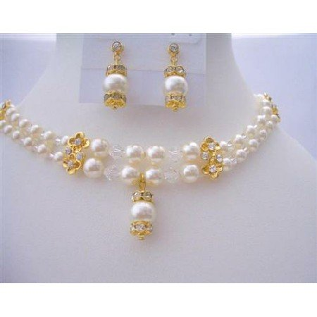 BRD395  Bridal Dream Jewelry Double Stranded Genuine Swarovski Pearls & Swarovski Crystals