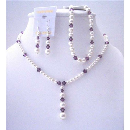BRD484  White Pearls And Amethyst Crystals Necklace Earrings & Bracelets Custom Swarovski