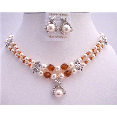 BRD732  Wedding Jewelry Bridal Cream Pearls SWarovski Burnt Orange Crystals Necklace