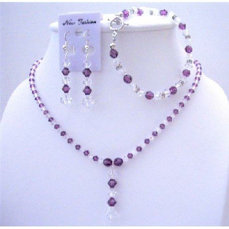 BRD414  Amethyst Crystals Custom Jewelry Swarovski AB & Amethyst Crystals Necklace Earrings