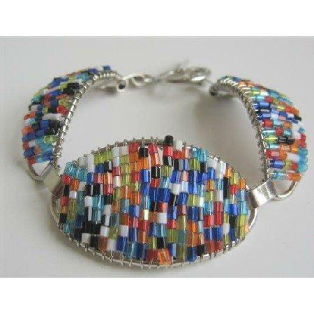 TB671  Multi Colored Glass Beads Pipe Shaped Bracelet Fabulous Bracelet