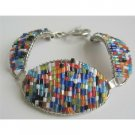 TB671  Multi Colored Glass Beads Pipe Shaped Bracelet Fabulous Bracelet