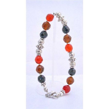 TB639  Glass Beads Red Onyx Topaz Brown Bracelet w/ Flat Spacer & Silver Daisy Sapcer Plastic