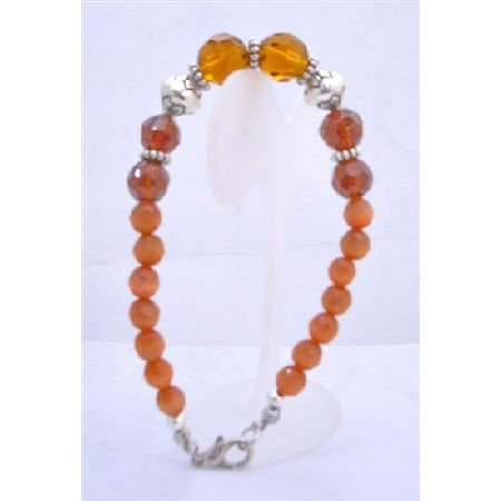 TB641  Topaz Glass Beads Faceted Round Beads Bracelet w/ Daisy Spacer Bracelet