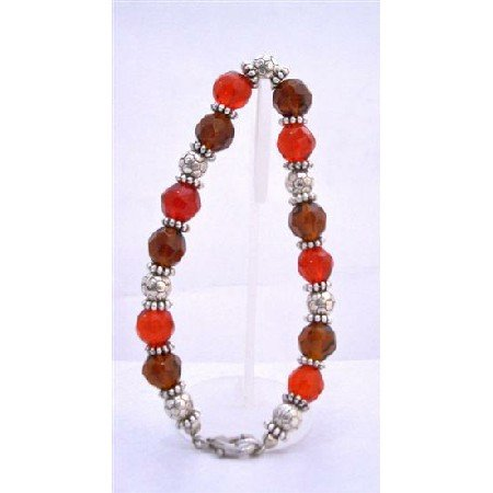 TB638  Faceted Glass Red Brown Bracelet w/ Daisy Spacer Bracelet Gorgeous Sparkling Bracelet