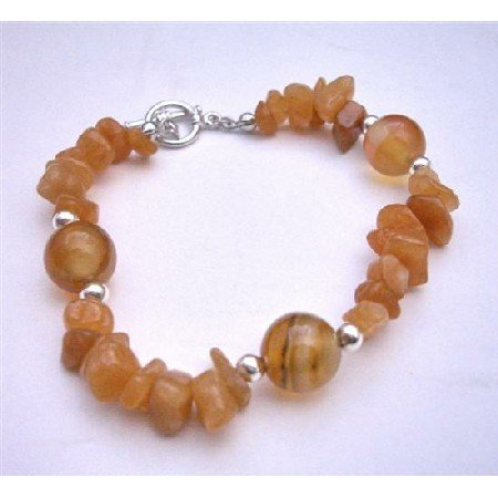 TB614  Carenilan Jewelry Carelian Nuggets & Bread w/ Silver Beads Toggle Clasp Bracelet