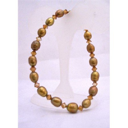 TB619  Rice Shaped Copper Golden Freshwater Pearls w/ Genuine Swarovski Bracelet