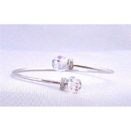 TB306  Wire Bracelet Swarovski AB Crystals Jewelry w/ Rondells