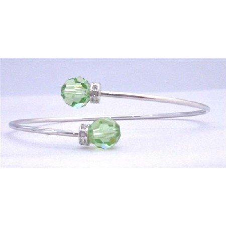 TB308  Wire Bracelet Genuine Peridot Swarovski Crystals 8mm w/ Silver Rondells