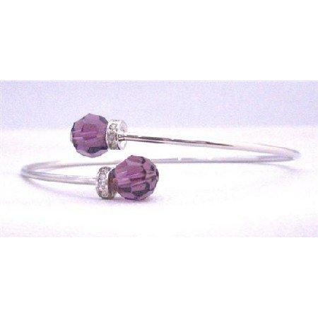 TB307  Amethyst Crystals Bracelet Wire Bracelet Genuine Amethyst Swarovski Crystals 8mm
