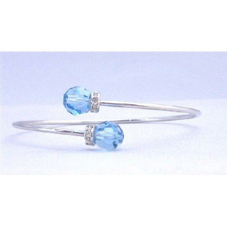 TB734  Aquamarine Swarovski Crystals Cuff Bracelet With Silver Rondells