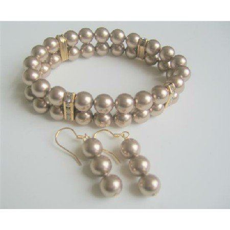 TB560  Bracelet Earrings Jewelry Set Double Strands Swarovski Bronze Pearls Stretchable Bracelet