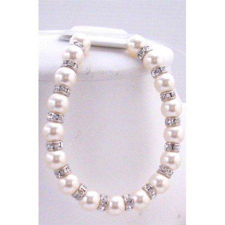 TB580  White Pearls w/ Sparkling Rondells Genuine Swarovski Pearls Bridal Bracelet