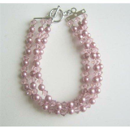 TB564  Swarovski Powder Rose Pearls w/ Lite Swarovski Amethyst Crystals Three Stranded Bracelet