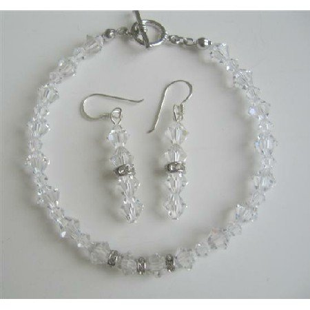 TB416  Clear Swarovski Irridscent Crystals Bridal Bracelet & Earrings Set w/ Genuine Swarovski