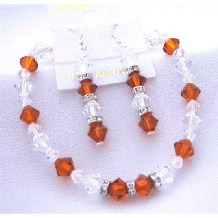 TB405  Burnt Orange Crystals & Clear Crystals Bracelet Earrings Genuine Swarovski Crystals