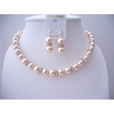 BRD475  Silver Rondells Peach Swarovski Pearls 10mm Necklace Set w/ Sparkling Simulate Diamond