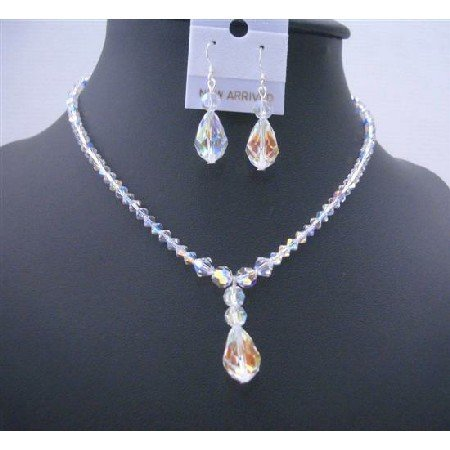 BRD493  AB Crystals Teardrop Irridescent Crystals Jewelry Set Swarovski AB Crystals Necklace