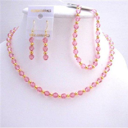 BRD561  Rose Pink Crystals Necklace Earrings Bracelet Jewelry Set Genuine Swarovski Crystals