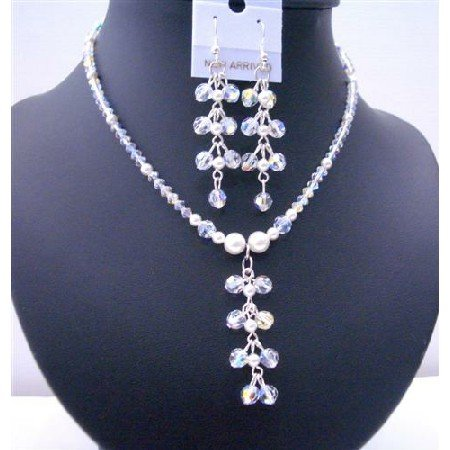 BRD492  White Pearls & AB Swarovski Crystals Dangling Drop Necklace And Earrings Jewelry Set