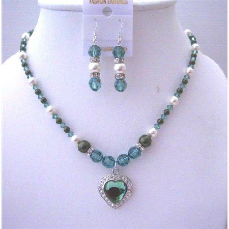BRD503  Erinite Crystals Heart Pendant Jewelry Set Swarovski White Dark Green Pearls