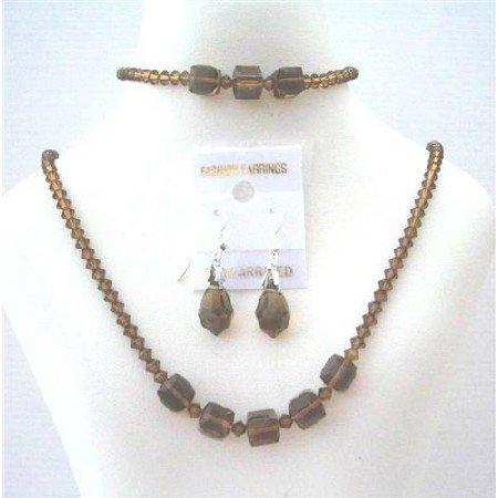 BRD437  Genuine Swarovski Smoked Topaz Custom Jewelry Complet Set w/ Bracelet Handmade Jewelry