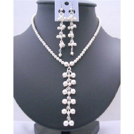 BRD418  White Pearls Genuine Swarovski Pearls Danglng Drop Necklace And Earrings Jewelry Set