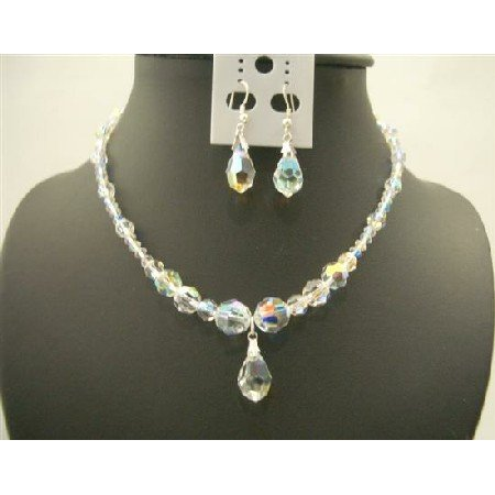 BRD422  Sparkling AB Genuine Swarovski Crystals w/ AB Swarovski Crystals Teardrop & Earrings